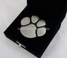 Solid Brass Silver Pewter Cat & Dog Pet Paw Print Keepsake Cremation Urn + Case