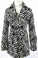 Vertigo Paris Black & White Zebra Stripe Long Belted Trench Coat Jacket XS $298