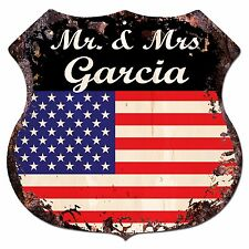 BPLU0008 America Flag MR. & MRS GARCIA Family Name Sign Home Decor Gift