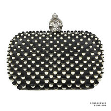 Alexander McQueen Black Leather Skull Faux Pearl-Embellished Box Clutch Bag
