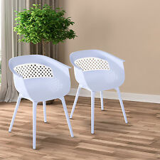 Chair Set of 2 PP white Ding Café White Comfortable Indoor Outdoor Modern 4 Legs
