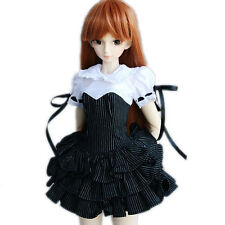 244# Black Stripe White Collar Dress/Suit/Outfit 1/4 MSD DZ DOD BJD Doll Dollfie
