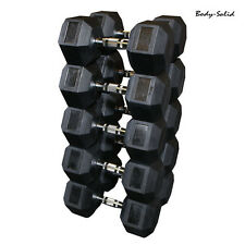 5-55 Lb Body-Solid Rubber Coated Hex Dumbbell Set 6 pair, 360 lbs, 10 lb incr