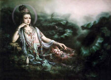 Art Oil painting Kwan-yin Avalokitesvara with jade pot lotus flowers canvas 36""