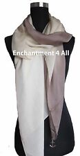 New Shaded 100% Pure Silk Oblong Scarf Shawl Wrap, Brown/Ivory