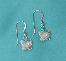 925 Sterling Silver Drop Earrings Swarovski with Clear AB Crystal Butterfly