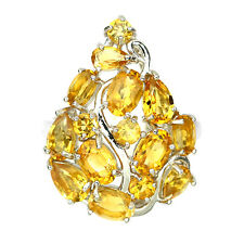LUXURY NATURAL GEM TOP RICH YELLOW CITRINE 14K ON  STERLING 925 SILVER RING SZ.8