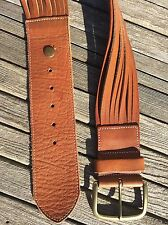 "Linea Pelle Belt M Brown Hand Made Leather 2 1/2"" Wide Brass Buckle Split Sides"