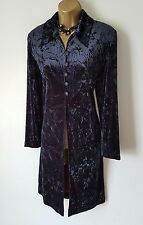 GOTHIC Black Crushed Velvet Vintage Light Coat 12 14 Steampunk Victorian Vampire