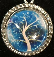 """Tree of Life Winter Frozen on Blue Charm Tibetan Silver with 18"""" Necklace T2"""