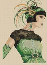 Counted Cross Stitch ART DECO FLAPPER LADY in Green Dress COMPLETE KIT #.5vb-30b