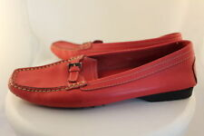 Tods Womens Red Loafers SZ 38/8 Leather Casual Flats Shoes