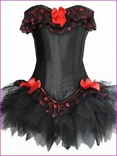 Black Corset  With Red & Black Lace  Tutu Size Large Approx UK 12