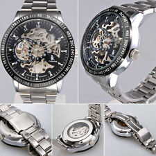 Men Silver Stainless Steel Automatic Mechanical Skeleton Spor Watch Army watches