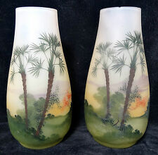 Vintage Pair of Glass Flower Plant Vases Hand Painted Tropical Palm Trees Motif