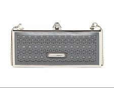 Rebecca Minkoff Bag Rex Minaudiere Party Evening Charcoal Laser-Cut Leather