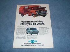 "1976 Chevy G10 G20 Vintage Van Ad ""We Did Our Thing. Now You Do Yours."""