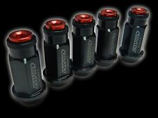 20PC 12X1.25MM 50MM EXTENDED ALUMINUM RACING CAPPED LUG NUTS BLACK/RED