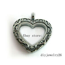 1pcs Vintage Silver  Heart  Floating Memory living  Locket fit floating charms