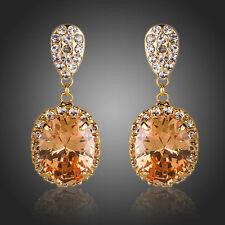 Orecchini in Oro Rosa Champagne Zirconi Orecchini a Goccia Moda earringsorange