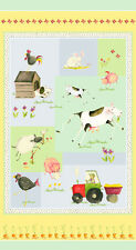E I E I O Farm Animals Panel Cotton Quilting Fabric  60cm x 110cm  Henry Glass