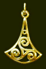 Celtic FIRE TWIRL fylfot Triskele Charm Gold plated real sterling Silver Jewelry