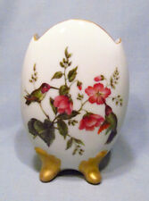 Hand Painted Signed 1977 Hummingbird Oriole Thistle Footed Porcelain Vase