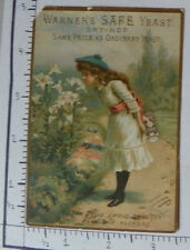 """WARNER'S SAFE YEAST DRY-HOP ROCHESTER NY GIRL SMELLING FLOWERS """"THE BREAD 1560"""
