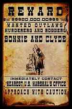 BONNIE & CLYDE WANTED METAL SIGN 8X12 OUTLAW DEAD OR ALIVE REWARD U.S. MARSHAL