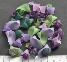 50 x mix of lucite/plastic beads 10/25mm 21 gms  PURPLE and GREEN,  Pack 6