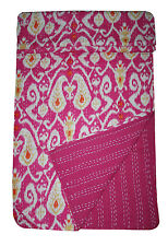 Indian Block Print Kantha Quilt Ikat Bedspread Reversible Rali Throw Vintage Art