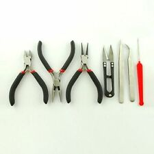 1set Jewelry Cutting Tools set Beading Beads Making Plier Scissor Tweezer Black