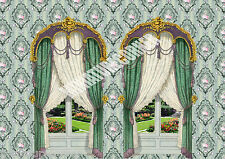 Dolls House Wallpaper Green vintage Curtains 1/12th scale Quality Paper #106C