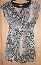 Be Beau Beige Mix Snake Animal Print Zip Detail Fully Lined Dress size 8