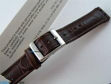 NEW Brown Leather Watch Band Strap Parts Fit SWATCH Irony Chronograph Size 19mm