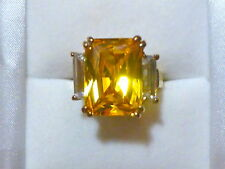 Gold Plated Citrine and Cubic Zirconia Cocktail Ring SIze 8