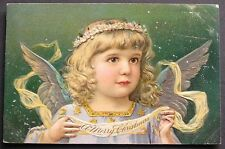 PFB Beautiful Angel w/ Christmas Banner & Crown of Flowers in Hair 1906