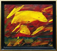 Gelbe Formen auf Rot, Öllack-Gemälde, 1990er Jahre Jozsef Toth *1944 Ungarn