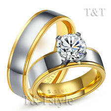 T&T 14K Gold GP 6mm Stainless Steel Engagement Wedding Band Ring For Couple