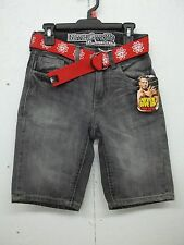 NWT WWE John Cena Boys Black/Gray Jean/Denim Shorts-10