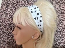 WHITE BLACK POLKA DOT CHIFFON BANDEAUX HAIR BAND HEADBAND ELASTICATED RETRO 50s