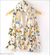 Hot Style Elegant Women's Butterfly Print Soft Thin Long Scarf Shawl Wrap