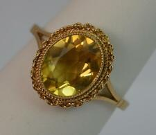 2.50 Carat Oval Cut Citrine and 9ct Gold Solitaire Ring f0009