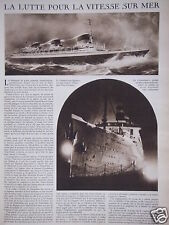 ARTICLE 2 PAGES 1931 VITESSE SUR MER PAQUEBOT SUPER ILE DE FRANCE ET LEVIATHAN