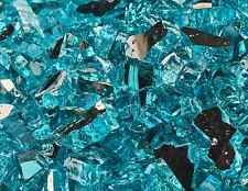 "10 Lb of Fire Glass 1/4"" Tahitian Blue Azuria Reflective Fireglass for Fireplace"