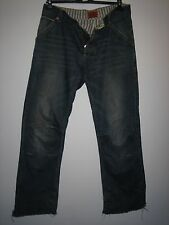 PP7) MENS VERY DISTRESSED BLUE SUPERDRY JEANS  BUTTON FLY   WAIST 34 LEG 34