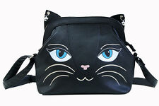 Banned Apparel Black Cat Face Whiskers Cute Kitty Cross Body Shoulder Bag Medium