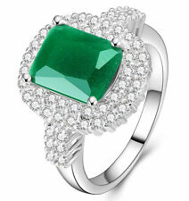 NEW size 6 Exquisite Emerald 925 Silver Glod Filled 5ct engagement Ring