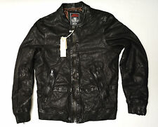 DIESEL Designer Men's L-Ajuga Black Leather Jacket Small New NWT