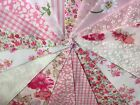 QUALITY HANDMADE PINK FLORAL FABRIC BUNTING.Weddings,parties,fetes.